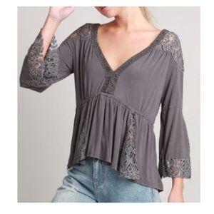 POL Lace Boho bell sleeve shirt
